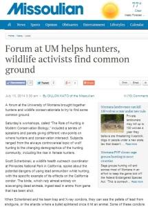 Missoulian Newspaper Article on Role of Hunting Workshop-crop