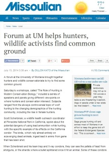Missoulian Newspaper Article on Role of Hunting Workshop-crop